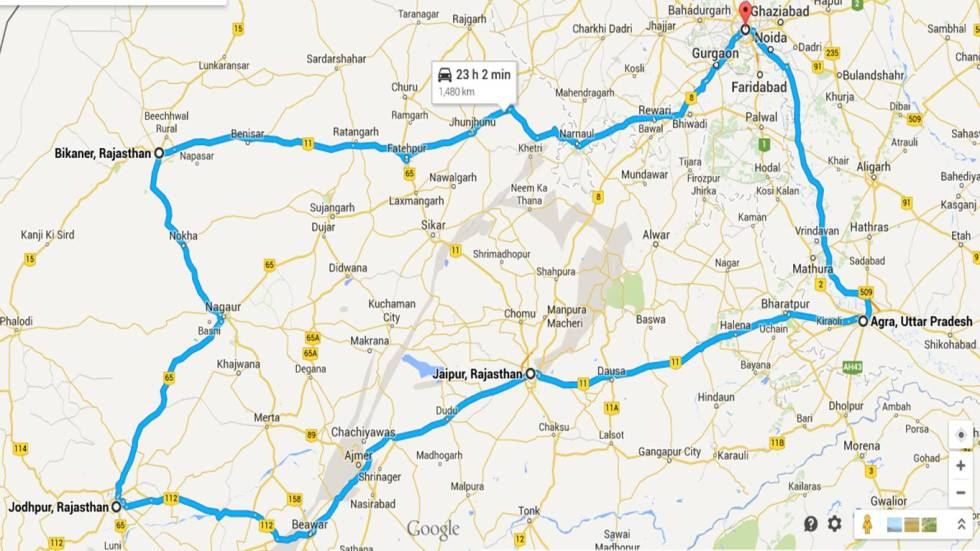 Rajasthan trip route