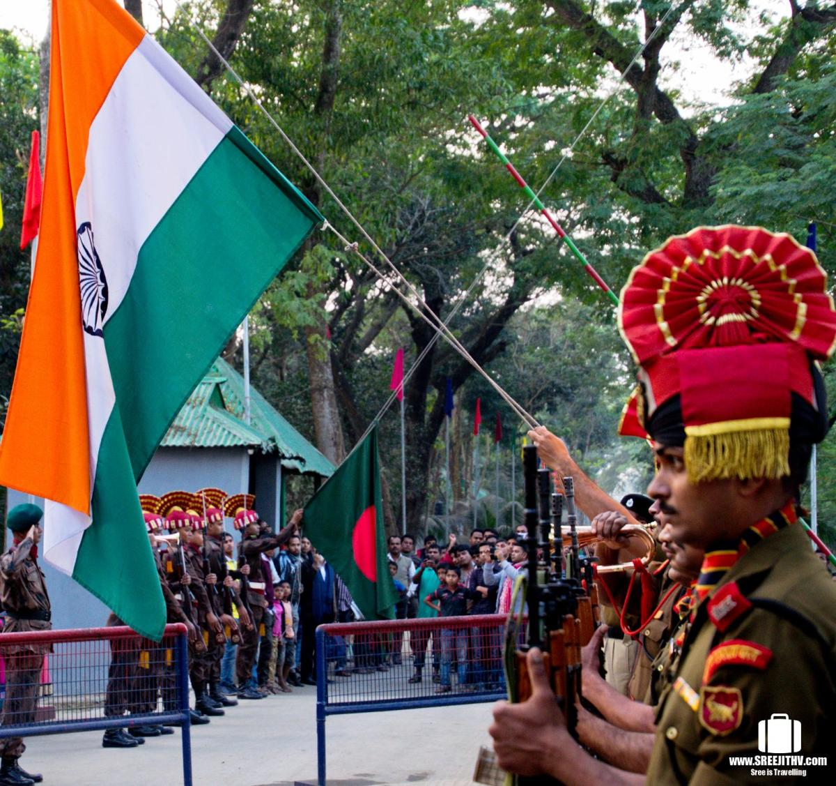 India-Bangladesh flag lowering ceremony, Akhaura border, Agartala, Tripura