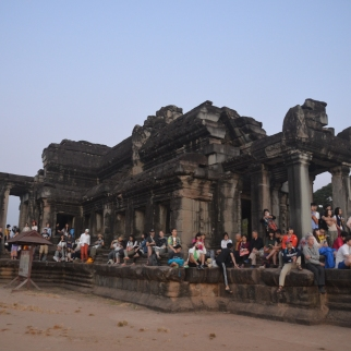 Tourists watching Angkor Wat Sunrise
