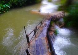 Wooden walkway at Tat Kuang Si falls, Laos