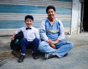 Father and son duo was waiting for school bus